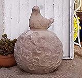Kugel mit Vogel ca. 17 cm grau-beige (Cappuccino) aus Terracotta Terrakotta Deko Garten Vintage Landhaus T