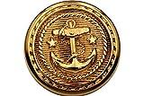 6 Stück, hochwertige, Gold Metall Knöpfe Metallknöpfe mit Anker, Made in Germany, 18mm