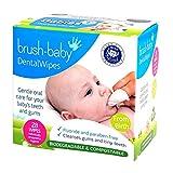 Brush-Baby Baby-Zahnreinigungstücher   Geburt - Erste Zähne   0-16 Monate   Weiche Tücher zur sanften Reinigung von Mund, Zahnfleisch und Zunge Ihres Babys