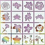 Blumenschablonen zum Malen auf Holz, 16 Stück Schablonen für Malerei Sonnenblumen-Schablonen, DIY sortierte Blumen Zeichen-Vorlage Holz Wand Home Decor 6,3 x Zoll