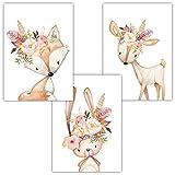 Frechdax® 3er Set Kinderzimmer Babyzimmer Poster Bilder DIN A4   Mädchen Junge Deko   Dekoration Kinderzimmer   Waldtiere REH Fuchs Hase (3er Set Blumen, Fuchs, Hase, REH)