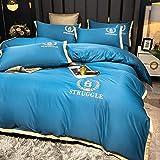 Bedding-LZ bettwäsche Baumwolle,Sommer Gewaschene Seide vierteilige weiße Hotel Bettwäsche Steppdecke Bettblatt Bettwäsche-DI_2.0m Bett (4 Stück)