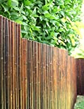 DE-COmmerce Robuster Bambus Holz Sicht Schutz Zaun ATY NIGRA I hochwertiger Windschutz Terrasse, Balkon, Garten I Bambusrohr Zaun mit geschlossenen Rohren 180 cm x 250 cm