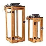 Holzlaternen für Draußen Groß | 2 Stück Laternen Set | Windlichter Outdoor | Kerzenständer Für Drinnen | | Wohnzimmer Deko