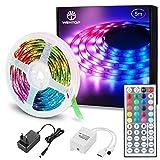 WenTop LED Strip 5m, RGB LED Streifen Selbstklebend, Farbwechsel Led Band mit IR Fernbedienung, Dimmbar Led Lichterkette, für Beleuchtung und Dekorative von Zimmer, Party, Küche