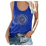 IHGWE Damen Vintage Druck Tank Top Oberteil Spitze Blusentop V-Ausschnitt Tops Ärmellose Bluse Top Sommer Shirt