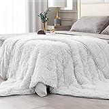 Topblan Fuzzy Sherpa Kunstfell-Decke, 6,8 kg, ultraweich, wendbar, Plüschdecke mit luxuriösem langem Fell und zotteligem Sherpa für besseren Schlaf, 152,4 x 203,2 cm, cremefarben