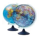 Exerz 21cm Leuchtglobus/Beleuchteter Globus Mit Kabelfreier LED-Beleuchtung Bei Tag Und Nacht - Wechseln Sie Zwischen Politischer Karte/Sternenkonstellation - Englische Karte