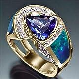 TZZD Fashion Big Blue-Stein-Ring-Charme-Schmucksache-Frauen CZ Trauringe Versprechen Verlobungsring Damen-Accessoires Geschenke Z4K146 (Main Stone Color : Ring P039, Ring Size : 8)