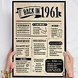 Holzbild: Alte Zeitung - Geschenk 60 Geburtstag Back in 1961 Vintage - personalisierbar zum Hinstellen/Aufhängen optional beleuchtet, 60 Geburtstag Frau - Wand-Bild Aufsteller - persönliches Geschenk