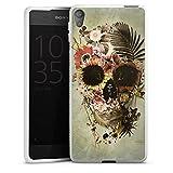 DeinDesign Silikon Hülle kompatibel mit Sony Xperia E5 Case weiß Handyhülle Totenkopf Garten Retro