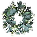 Kapmore Eukalyptus Künstlich Kranz, 12,99' Kranz Weihnachten Türkranz Wandkranz Efeugirlande Eukalyptus Künstlich Hängen Reben Blätter für Hochzeit, Party, Garten, Wanddekoration (Grün 1)