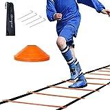 HENGMEI Koordinationsleiter 6m Fussball Trainingsleiter Set Agility Leiter mit Erdnägel Tragetasche und 10 Sportkeg