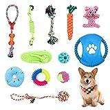 Adurei Welpenspielzeug 12 Stück Hundespielzeug 100% natürliche Baumwolle Ungiftig Seil Hunde vermeiden Langeweile Zahntraining für Kleine Mittlere Hunde