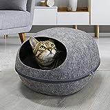 JLDTOP Premium Filz Katzenbett Höhle Wollbett für Katzen und Hunde (Grau)