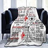 Greys Anatomy Decke Grey Anatomy Season 17 weiches Mikrofleece Kinderdecke Bettlaken für Kinderbett Erwachsene Kinder Bett Couch Stuhl Collage Wohnheim Wohnzimmer Heimdekoration 152,4 x 127,7 cm