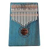 Professionelle 17 Schlüssel Thumb Piano Kalimba, Natürliche Mahagoni Massivholz Mbira Finger Piano Musikinstrument Geschenke für Kinder Erwachsene Anfänger (Color : Blue)