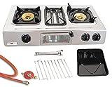 Edelstahl Gaskocher 3 flammig 9,7 KW Campingkocher mit Grill Ofen Gasgrill WOK Hockerkocher inkl. Gasschlauch-Regler Set