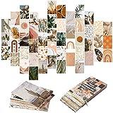 50 Stück Boho-ästhetische Bilder, Wandcollage, Pfirsichblaugrün, Fotosammlung, Collage, Wohnheim-Dekoration für Mädchen, Teenager und Frauen, orange Boho-Wanddruck-Set, kleine Poster für Zimmer