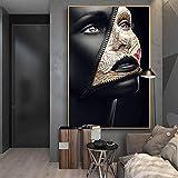 HYY-YY Zeitungscover Gesicht Kreative Kunst Poster Sexy Mädchen Leinwandbilder An der Wand Kunst Make-up Bilder Wanddekor Cuadros 23,6'x39,4 (60x100cm) Rahmenlos