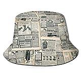 Angelhut Fischerhut,Vintage Style Sepia getönten Zeitungsdruck mit altmodischen,Bonie Safari Sonnenhüte zum Wandern im Freien für Männer und Frauen