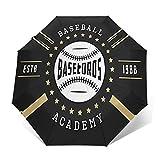 Regenschirm Taschenschirm Kompakter Falt-Regenschirm, Winddichter, Auf-Zu-Automatik, Verstärktes Dach, Ergonomischer Griff, Schirm-Tasche, ABC Baseball Zeichen Abzeichen