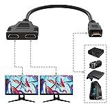 Uzanpie HDMI Splitter Adapter für 1080P HDTV, Dual HDMI Adapter, HDMI Stecker auf 2 HDMI Splitter Buchsen Unterstützung für Xbox, Blueray, DVD Player, PS3 (12.2inch, Black)
