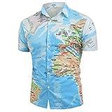 BaZhaHei Herren Neu Sommer Hemd Kurzarm Shirt Sommer Hawaiihemd für Strand Freizeit Button Down Hemden Shirts Weltkarte drucken mit Knopf Shirt Top Bluse (L, Blau)