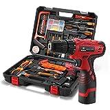 DEDEO Werkzeugkoffer mit Bohrer 16,8 V Akku, Haushaltsband Werkzeugsatz für die Reparatur zu Hause mit Aufbewahrungskoffer, 60 Teilig Werkzeugkasten für Den Heimgebrauch
