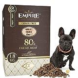 Empire Erwachsene Hunde Trockenfutter - 1,8kg - Hundefutter Trocken Getreidefrei - Kleine Rassen - 80% Frisches Wildfleisch und Lammfleisch - Hypoallergen - Glutenfrei - 100% Natürlich