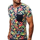 Sportshirt Herren Modern Sommer Tasche Herren T-Shirt Basic Slim It Stretch Rundhals Camouflage Druck Kurzarm Shirt Täglich Casual All-Match Laufshirt D-Khaki(A) M