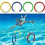 Hopowa Tauchringe 4-teilig Tauchspiel Dive Rings Schwimmbad-Spielzeug für Kinder, Sommerstrand Wasserspielspielzeug