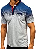 JinFZ Poloshirt Herren Sport Business Casual Herren Tshirt Slim Fit Stretch Sommer Herren Kurzarm Golf Baseball Urban Modern Herren Sportshirt B-Grey M