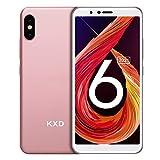 Smartphone ohne Vertrag KXD 6A Günstige 3G-Android-Smartphone 5,5-Zoll-Vollbild 8GB ROM (64GB Erweiterbar) Face ID 2500-mAh-Akku 5MP Kameras Dual SIM, Quad-Core - Roségold