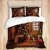 ALLMILL Bedding Bettwäsche-Set 3 Teilig mit ReißverschlussWeihnachten Weihnachten Weihnachtskugeln Steckenpferd Santa Geschenkbox Retro Haus,(240x260cm) und 2*Kissenbezuge(50x80cm)