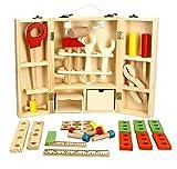 Lewo Holz Werkzeugkasten und Zubehör Set Pretend Play Kit Pädagogische BAU Spielzeug für Kinder