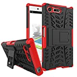 MRSTER Sony Xperia X Compact Hülle, Outdoor Hard Cover Heavy Duty Dual Layer Armor Case Stoßfest Schutzhülle mit Ständer Handyhülle für Sony Xperia X Compact. Hyun Red