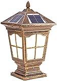 JJSFJH Outdoor Post Light Outdoor Garten Licht Solar Post Lampe IP65 Wasserdichte Zaun Gate Säule Lichter LED Bronze Außen Wanddekoration Hof Villa Wohnlandschaft Laterne