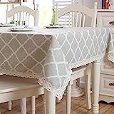 CYYyang Wachstuch-Tischdecke Abwaschbar Gartentischdecke Wachstischdecke Plastik-Tischdecken Geometrische Rautengraue Spitze aus Baumwolle und Leinen