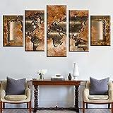 5 Stück Wandkunst Poster Modulare Weltkarte Erde Bilder Karte Kunst HD Gedruckte Leinwand Malerei Wohnkultur Wohnzimmer -150 * 80cm-gerahmt