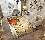 Flauschiger Schlafzimmerteppich Flauschiger Wohnzimmer Teppich Rutschfester Teppich Gießkanne auf Holzbrett 160*200CM(5'3''x6'6'')