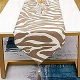 QXbecky Tischläufer schwarz und weiß Kaffee Farbe Zebramuster modernes Licht Luxus Stil hochpräzise Esstisch Couchtisch Tischdecke TV Tee Tischdecke Bett Flagge 33x210