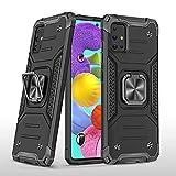 KKPAI Kompatibel mit Samsung Galaxy A51 4G Handyhülle, 360° drehbarer Ringständer, robust, stoßfest, stoßfeste Schutzhülle, schlank, robust, kratzfest, griffig, Schwarz