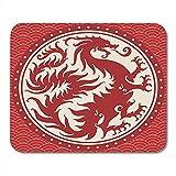 Spiel-Mausunterlage Altes chinesisches Drache-Wappen oder Symbol mit dem Wolken-Beschaffenheits-Arm 25X30 cm rutschfeste Gummiunterlage des Büro-M