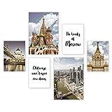Poster-Set | Moskau | 6 Bilder Deko Wohnzimmer Modern Schlafzimmer Bild für Ihre Wand - optional mit Rahmen - 2 x DIN A3 & 4 x DIN A4 - ca. 30x40 & 20x30 (Natur)