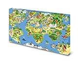Magnettafel Pinnwand Bild Weltkarte für Kinder XXL gekantet Größe 100 x 80 cm