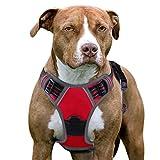 Eagloo Hundegeschirr Geschirr für Große Hunde Anti Zug Mittelgroße Brustgeschirr No Pull Sicherheitsgeschirr Auto Dog Harness Labrador Welpengeschirr Weich Gepolstert Rot L