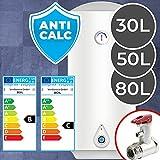 Warmwasserspeicher - 30, 50 oder 80 Liter, elektrisch, druckfest, inkl. Sicherheitsventil, Antikalk Emaillierung, für Wandmontage - Boiler, Warmwasserbereiter, Wasserboiler, Warmwasserboiler für B