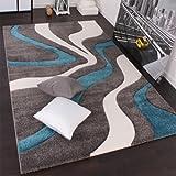 Paco Home Designer Teppich mit Konturenschnitt Modern Grau Türkis Weiss, Grösse:80x150
