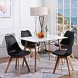 H.J WeDoo Esszimmertisch mit Stühlen, Essgruppe Weiß Tisch mit 4 Schwarz Stühlen für Esszimmer, Küche & W